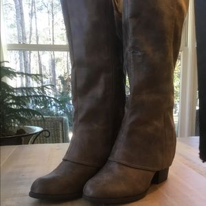 Fergalicious Wide Calf Size 9 Boots in Taupe NWOT